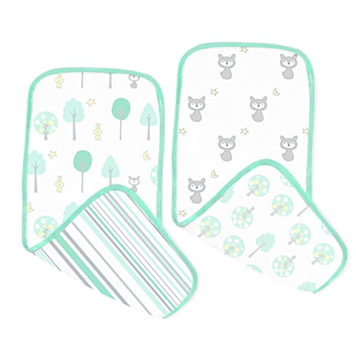 SwaddleDesigns Cotton Muslin Baby Burpies, Set of 2 Cotton Burp Cloths, Green Woodland ()