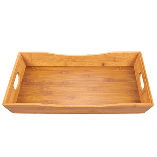 Juvale Bamboo Serving Tray - Breakfast Serving Tray with Double Handles for Food and Beverage, Ottoman Bed Tray, Brown, 16 x 2.1 x 9.7 Inches - Set Unfinished Bed