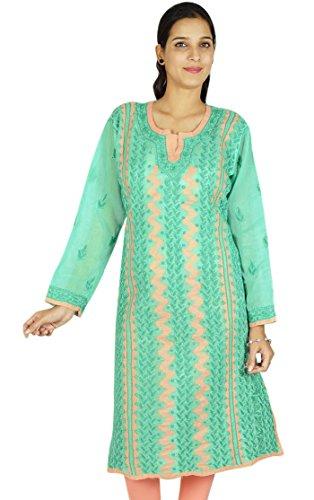 Indio bordado Chikan Bollywood regalo de las mujeres vestido étnico Kurti algodón para ella Verde y melocotón-2