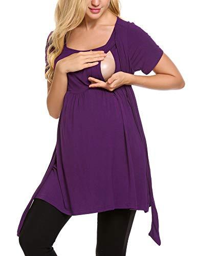 Ekouaer Women's Maternity Nursing Top Short Sleeve Ultra Soft Breastfeeding Clothes (M, Purple)