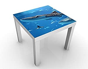 Apalis 46088–276666 Design Table Fish in The Sea, 55 x 55 x 45 cm, Bunt, 45x55