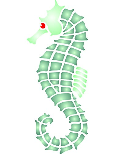 "Seahorse Stencil - (size 4.5""w x 10.5""h) Reusable Wall Stencils for Painting - Best Quality Wall Art Décor Ideas - Use on Walls, Floors, Fabrics, Glass, Wood, Terracotta, and More… by Stencils for Walls"