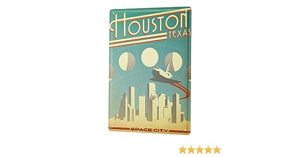 Tin Sign Deco City  Houston Texas Space City skyline aircraft