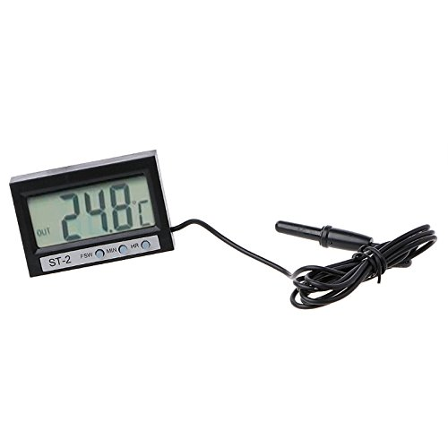 Poity In Out LCD Dual-Way Digital Car Thermometer & Clock ST2
