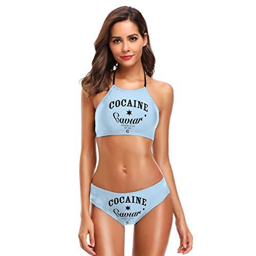 - CDSUWE Cocaine and Caviar Sexy Women's Bikini Set Halter with Adjustable Pull Rope Black
