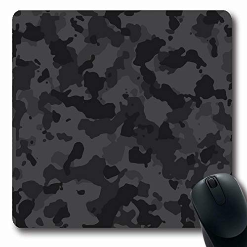 Ahawoso Mousepads Abstract Gray Camoflauge Black Urban Camouflage Pattern Hide Camo Dark Army Military Camoflage Oblong Shape 7.9 x 9.5 Inches Non-Slip Gaming Mouse Pad Rubber Oblong Mat