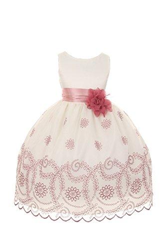 Kids Dream Floral Embroidered Flower Girl Dress (Ivory/Rose, 12)
