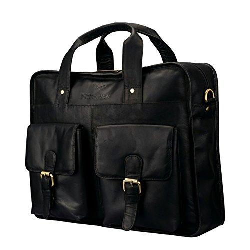 Finelaer Leather Laptop Computer Messenger Bag with Pockets for laptops Macbooks 14'' Black by FINELAER (Image #1)