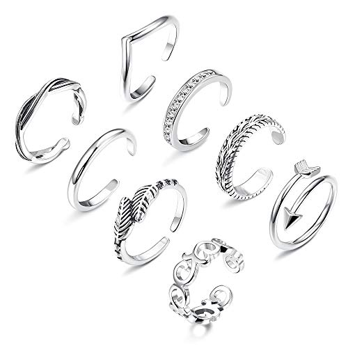 Finrezio 8Pcs Open Toe Rings for Women Girls Adjustable Tail Ring Flower Knot Simple Toe Ring Gifts Jewelry Set