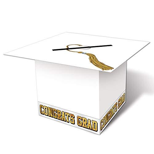 Graduation Cap Card Holder Box (Grad Cap Card Box (white) Party Accessory  (1 count))