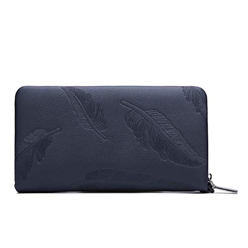 Fermeture Brown En Zip Vintage Pour Portefeuille Wallet À Les Checkbook Double Blue Hommes Limeinimukete Cuir color H0gqY60