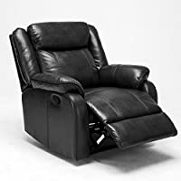 Roundhill Furniture Novia Leather-Air Living Room Recliner Black