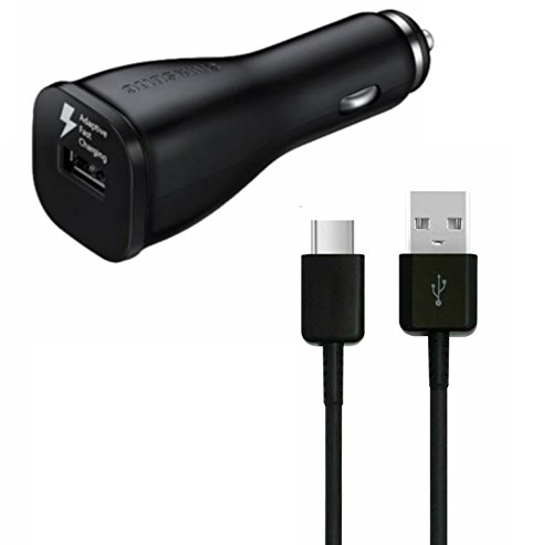 Samsung Adaptive Fast USB to Type-C Car Charger with Detachable Samsung Note 7/S8 Charging USB Cable to Type C - Black (Non Retail Packaging)