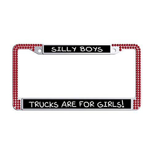 Hensonata Bling Cool Waterproof Crystal License Plate Frames, Silly Boys Trucks are for Girls Red Sparkle Rhinestones Stainless Steel Automotive Decorative Car License Plate Frame with Crews Caps ()