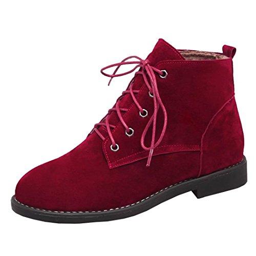 AIYOUMEI Damen Geschlossen Lace Up Flach Stiefeletten mit 2cm Absatz Schnürstiefeletten Bequem Schuhe Rot
