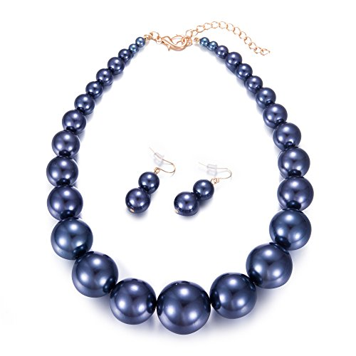 Yuhuan Womens Faux Big Pearl Choker Necklace and Earring Set Fashion Pearl Set