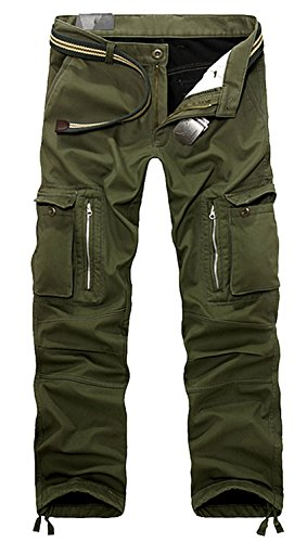 AOYOG Thicken Mens Winter Fleece Lined Cargo Pant Windproof Work Pants(Army Green  2),33W32L