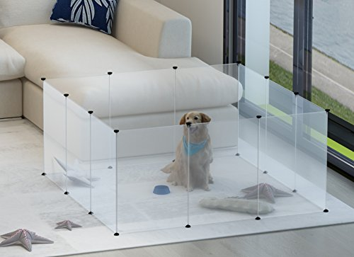 Tespo Dog Playpen, Portable Large Plastic Yard Fence for Small Animals, Popup Kennel Crate Fence Tent, Transparent White 12 Panels (For Outside Fence Dog Large)