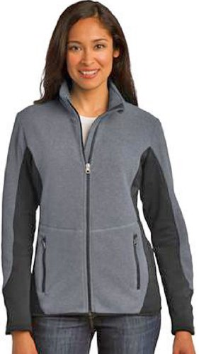 Port Authority Ladies R Tek Pro Fleece Full Zip Jacket L Charcoal Black