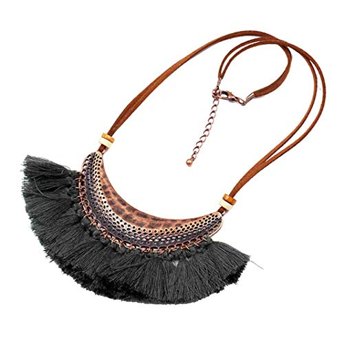 Sperrins Fashion Necklace, Fashion Bohemian Necklace Women Long Tassel Fringe Dangle Necklace Jewelry Black