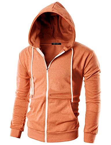 JD Apparel Mens Hipster Fleece Full Zip Up with Kanga Pocket Hoodies