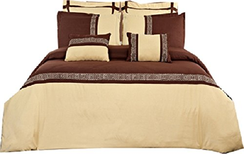 Embroidered Astrid 100-Percent Microfiber, 7PC Full/Queen Duvet Cover Set, Gold With Chocolate