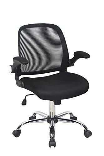Task Height Swivel Chair Adjustable - Bonum Ergonomic Mid-Back Mesh Fabric Swivel Office Chair, Seat Height Adjustable Desk Chair with Armrest,Black