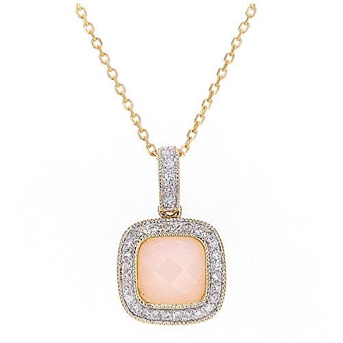 Revoni Bague en or jaune 9carats Diamant et Opale rose collier avec pendentif carré