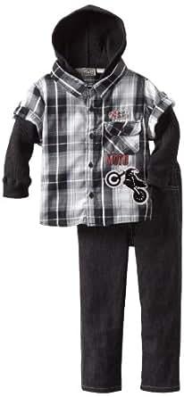 Little Rebels Little Boys' 2 Piece World Champion Moto Set, Black, 3T