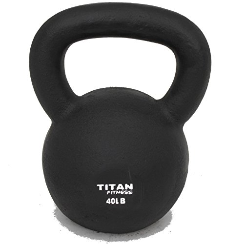 Cast Iron Kettlebell Weight 40 Lbs Natural Solid Titan Fitness Workout Swing