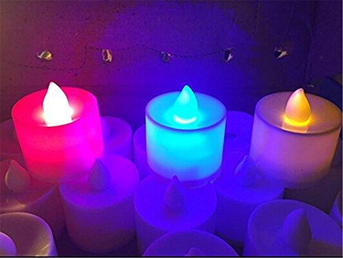 BXT Dancing Flameless Pillar LED Tea Lights Candles Elegant Unscented LED Candles, 3 Colors - Pack of 24