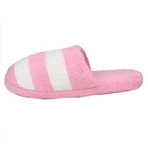 AMA(TM) Women Soft Warm Coral Fleece Indoor Home Slippers Anti-slip Shoes Pink TkhVcf