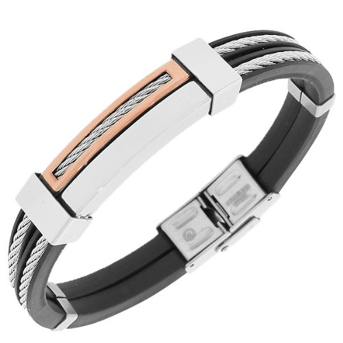Stainless Steel Black Rubber Silver Rose Gold Tone Twisted Cable Mens Bracelet with Clasp