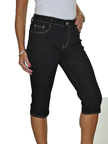 Ice Jeans Femmes Stretch Chino Sheen Jambe troites Noir (Poche-2)
