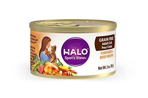 Halo Grain Free Natural Wet Cat Food, Chicken & Beef Recipe, 3-Ounce Can (Pack Of 12) -