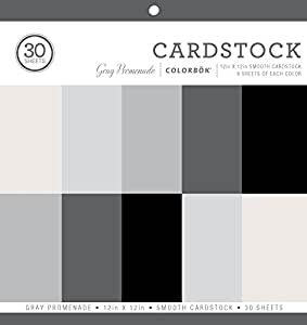 "Colorbok Smooth Cardstock Paper Pad, 12"" x 12"", Gray Promenage"