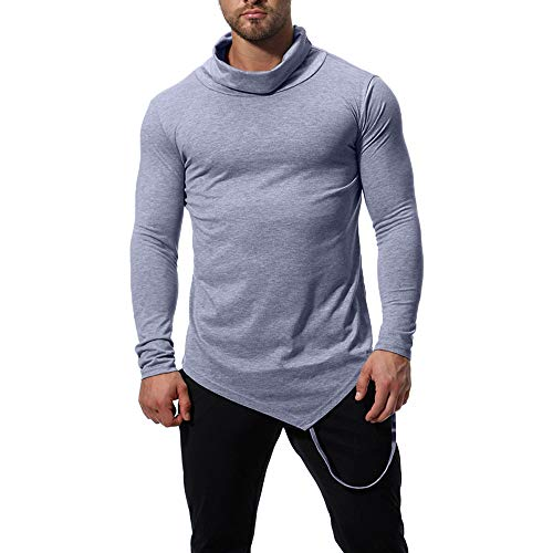 - iDWZA Fashion Men's Autumn Winter High Collar Pure Color Long Sleeve T-Shirt Tops Blouse(Gray,US L/CN XL)