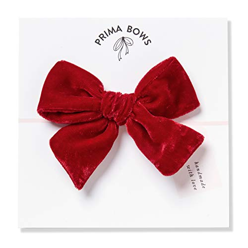 Bow Velvet Red - Handmade Red Velvet Fabric Bows For Girls, For Newborns Through Toddlers (1 Size Fits All) - Prima Bows (Red, Alligator Clip)