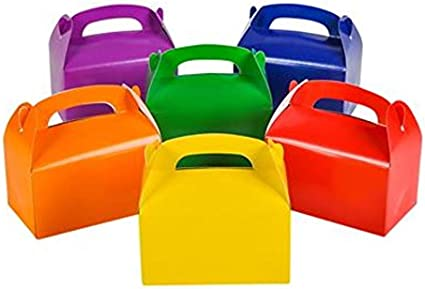 Tytroy Cardboard Bright Rainbow Colored Party Favor Treat Boxes 12 Pieces