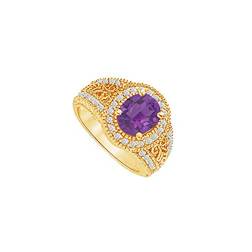 Cool Gift Amethyst and CZ Filigree Ring 2.00 CT TGW
