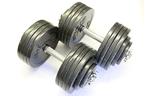 Omnie 200 LBS Adjustable Dumbbells with Gloss Finish and Secure Fit Collars(Pair)