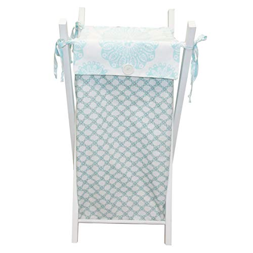 - 100% Cotton Cotton Tale Designs Sweet & Simple Floral Daisy Hamper in Aqua Blue, White, Tan Flower Top with Button & Ties, White Sturdy Wooden Hamper Frame- Also Available on Natural & Black Frame