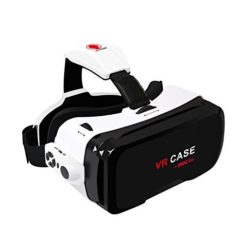 "All-in-One Ultra Clear VR CASE 3D Glasses 6th Generation Virtual Reality BOX Headset + Bluetooth Remote Controller for iPhone 7 Plus/ 7/ 6/ 6S Plus and Other phones with screen size within 4.7""-6.0"""