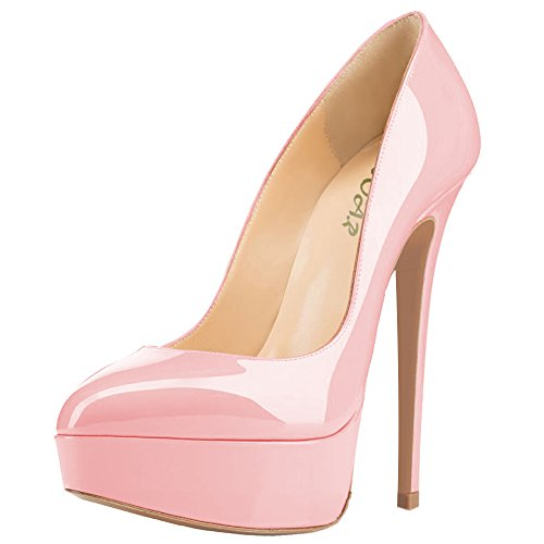 AOOAR Damen Mischfarben Plateau Stiletto Abendschuhe Pumps Rosa/Lackleder