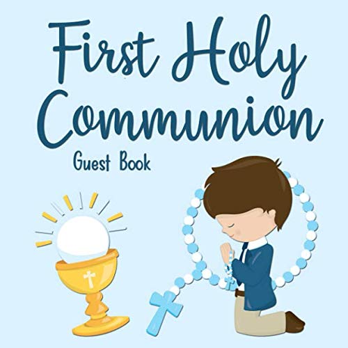 First Holy Communion Guest Book: Boy in Blue
