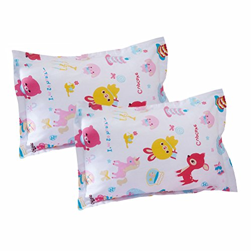 """LIFEREVO 100% Cotton Cartoon Print 2 Pack Toddler Pillowcases Envelope Style Closure for Pillow Size 13""""x18"""" and 14""""x19"""", Birthday Party from LIFEREVO"""