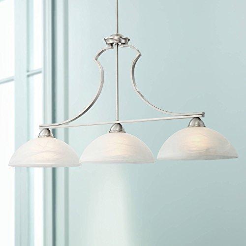 (Milbury Collection Satin Nickel 3-Light Island Chandelier - Possini Euro Design)