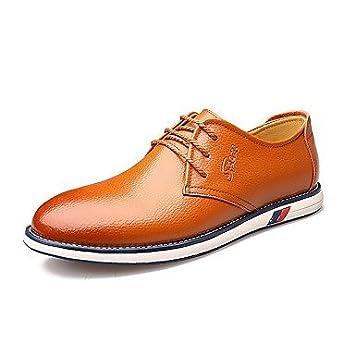CLG-FLY Mens Oxfords Summer Fall Formal Shoes Comfort Cowhide Wedding Office /& Career Casual Flat Heel Split JointOrange Black Walking