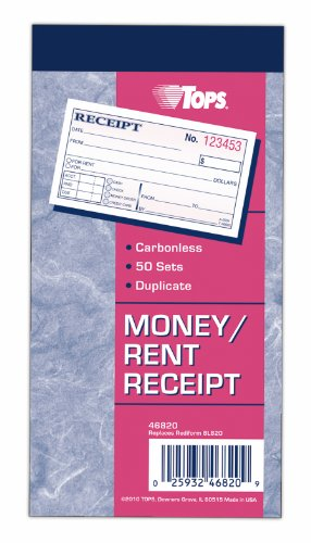 TOPS Money Receipt Book, 2-Part, Carbonless, 2 5/8 x 5 3/8 Inches, 50 Sheets, White and Canary, (46820)