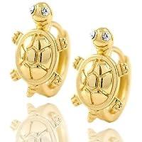 Meenanoom Womens Girls kids jewelery 14K Solid Gold Filled turtle Huggie Hoop Earrings